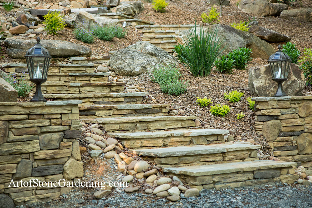 Stone steps and walls near Helen, GA