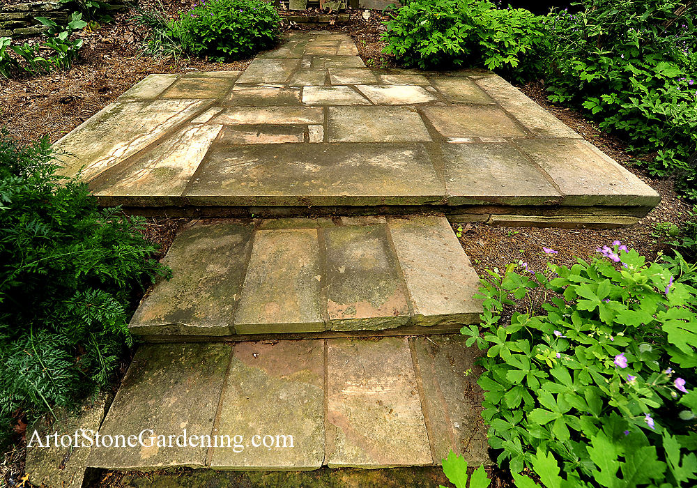 Rectangular stone patio