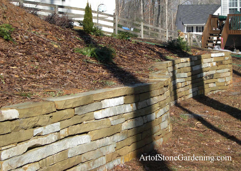 Curved stacked stone wall