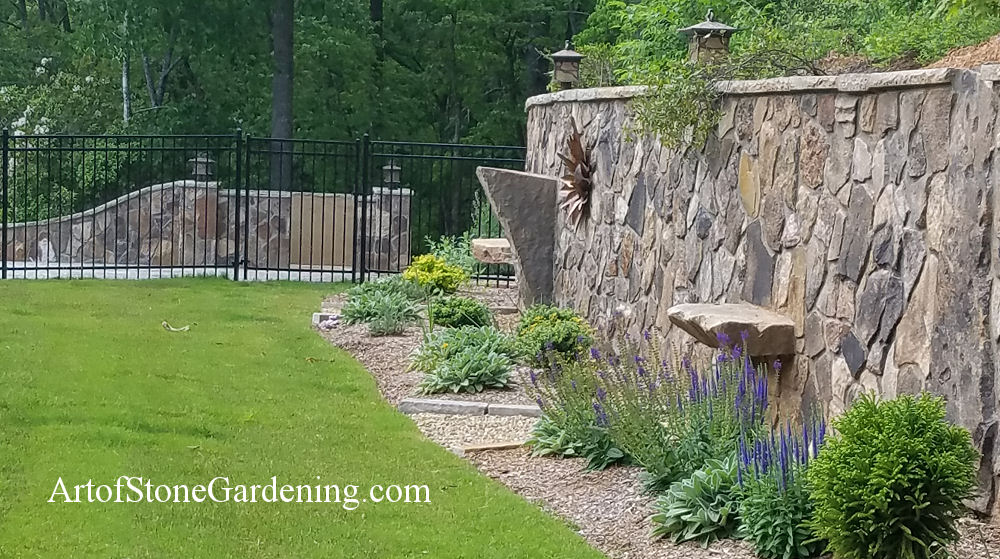 Stone wall and garden