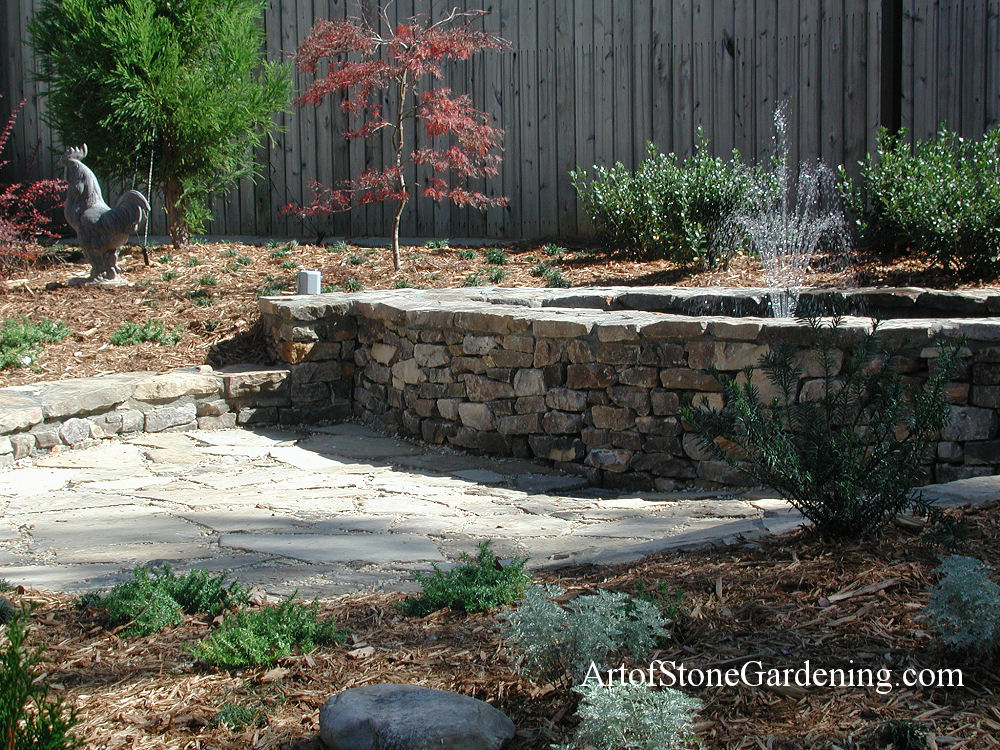 Water fountain and stone patio