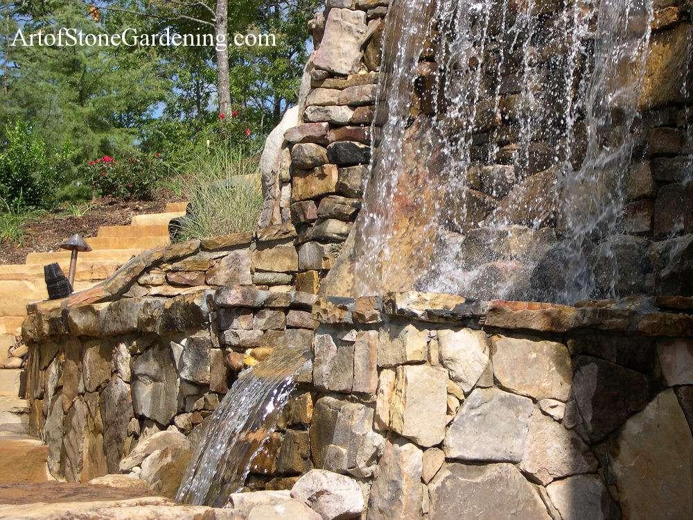 Lake Rabun waterfall and stone walls