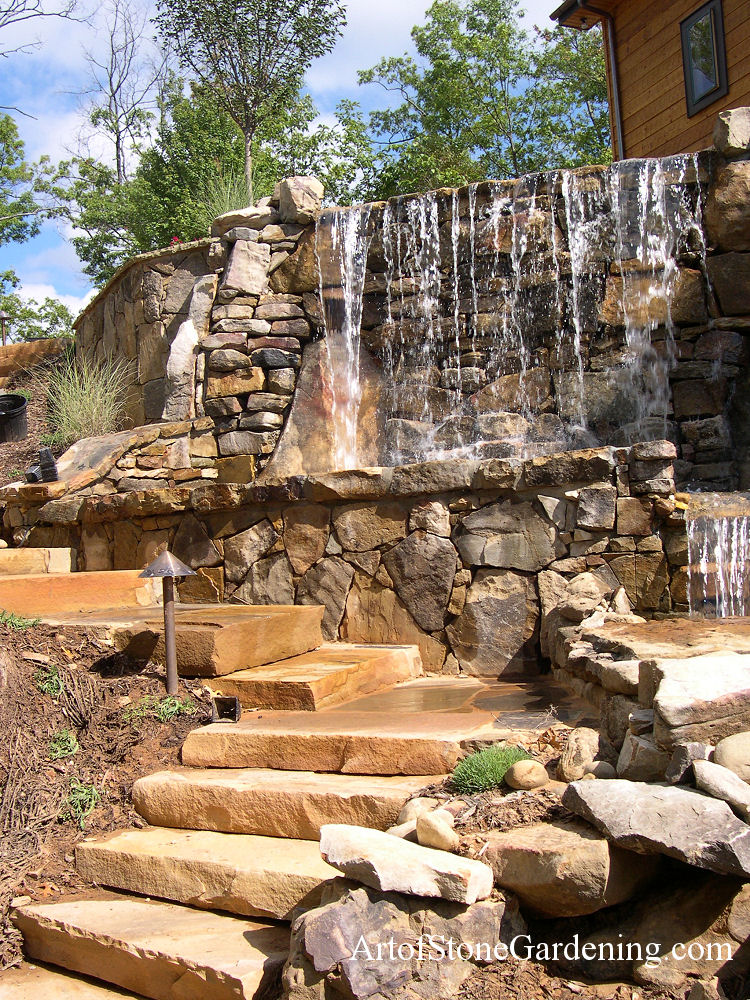 Tall Waterfall and steps