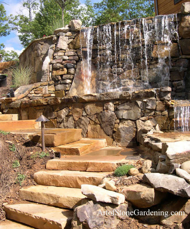 Stone waterfall and steps
