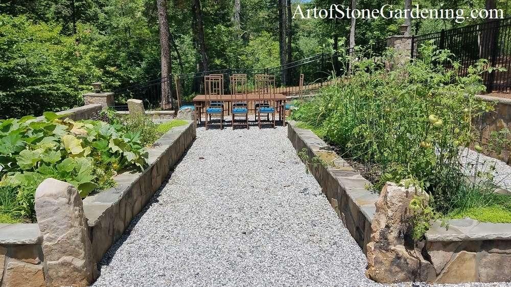 Raised stone planter vegetable garden